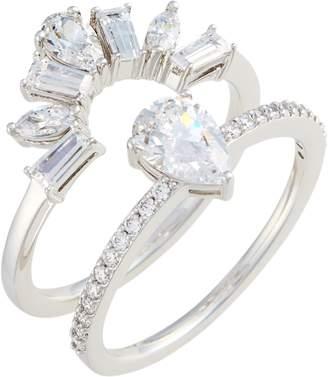 Nadri Fanfare Cubic Zirconia Interlocking Ring Set