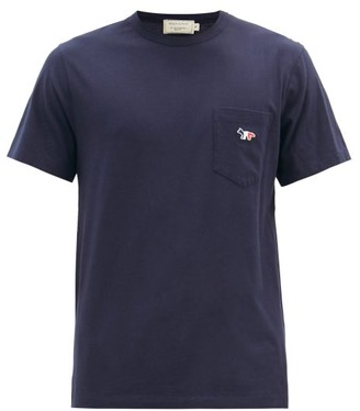 MAISON KITSUNÉ Tricolor Fox Patch Cotton T Shirt - Mens - Navy