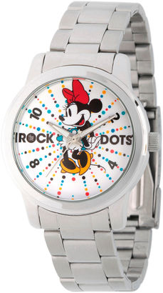 DISNEY Disney Womens Minnie Mouse Silver Tone Rock theDots Bracelet Watch $47.99 thestylecure.com