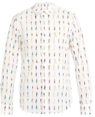 Paul Smith People Print Cotton Shirt - Mens - White Multi