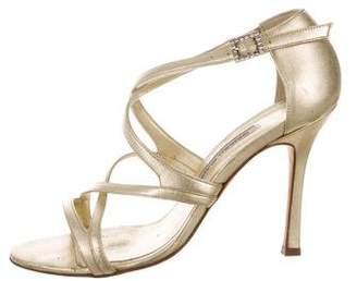 Manolo Blahnik Metallic Strappy Sandals