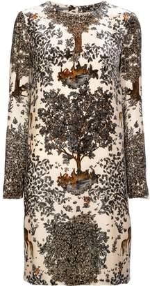 Alberta Ferretti deer print velvet dress