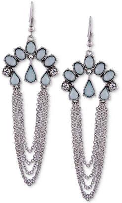 GUESS Silver-Tone Multi-Stone & Chain Drop Earrings