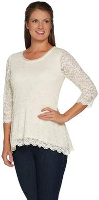 Isaac Mizrahi Live! Stretch Floral Lace 3/4 Sleeve Peplum Top