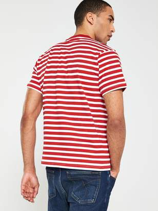 Calvin Klein Fashion Stripe Relax Fit T-Shirt - Red/White