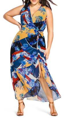 City Chic Indigo Patch Sleeveless Maxi Dress