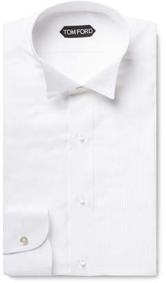 Tom Ford White Slim-Fit Wing-Collar Bib-Front Cotton-Voile Shirt