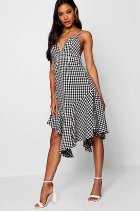 boohoo Tami Asymmetric Hem Checked 90's Neck Dress