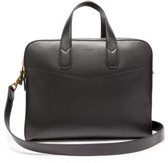 Duke Double Document Leather Briefcase - Mens - Black