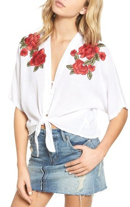 Women's Rails Thea Embroidered Tie Front Crop Top $158 thestylecure.com