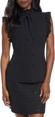 Anne Klein Sleeveless Bow & Ruffle Top