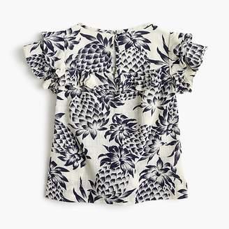 J.Crew Girls' ruffle-trimmed top in pineapple print