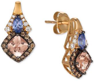 LeVian Le Vian Chocolatier Multi-Gemstone (1-1/8 ct. t.w.) & Diamond (3/8 ct. t.w.) Drop Earrings in 14k Rose Gold