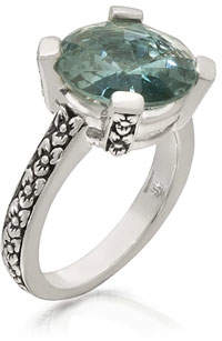 Stephen Dweck Aqua Quartz Floral Ring