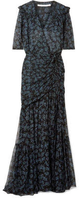Veronica Beard Mick Ruched Silk Crepe De Chine And Chiffon Maxi Dress - Black