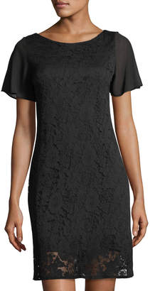 Taylor Textured Lace Chiffon Short-Sleeve Day Dress
