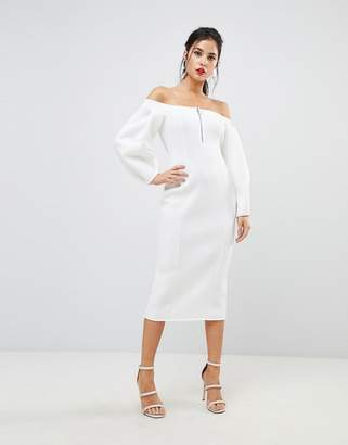 Asos DESIGN Premium Off Shoulder Midi Dress With Zip Front