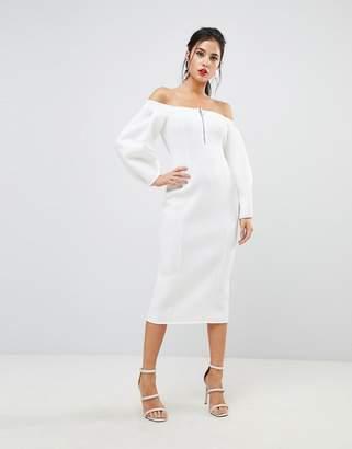 Asos Design Premium Off Shoulder Midi Dress With Zip Front