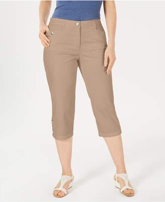 Karen Scott Button-Hem Capri Pants
