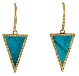 Jennifer Meyer 18K Turquoise & Diamond Triangle Drop Earrings