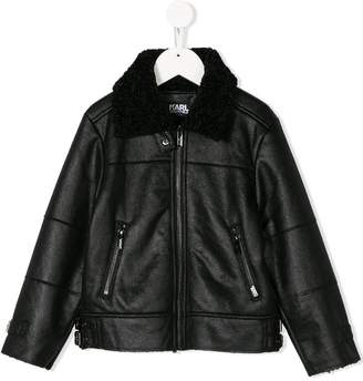 Karl Lagerfeld faux leather aviator jacket