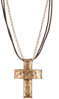 Robert Lee Morris Jewelry Leather & Chain Cross Pendant Necklace