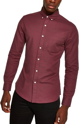 Topman Skinny Fit Solid Button-Down Oxford Shirt