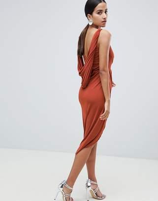 Asos DESIGN slinky drape back lace insert midi dress