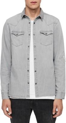 AllSaints Giro Slim Fit Distressed Cotton Snap Front Shirt