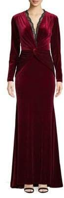 Nicole Bakti Knotted Velvet Fit-&-Flare Gown