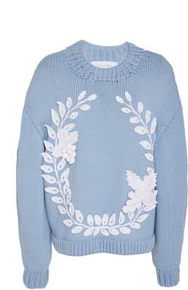 Oscar de la Renta Embroidered Sweater