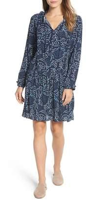 Caslon R R) Ruffle Split Neck Dress (Regular & Petite)