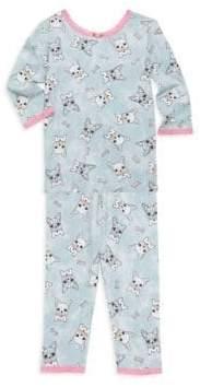 Esme Girl's Bulldog Print Pajama Set