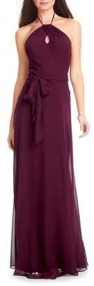 #Levkoff Chiffon Tie Waist Halter Gown