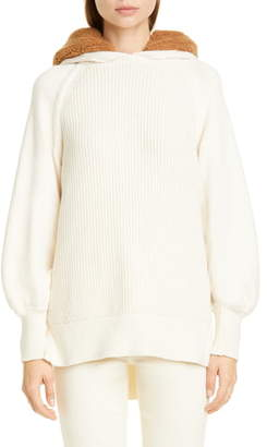 ADEAM Angel Hair Hooded Sweater with Faux Fur Trim
