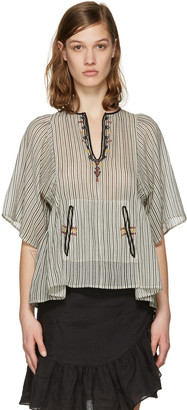 Isabel Marant Etoile Ecru Embroidered Stripe Joy Blouse $220 thestylecure.com