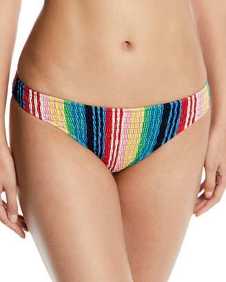 Diane von Furstenberg Striped Smocked Cheeky Bikini Bottom