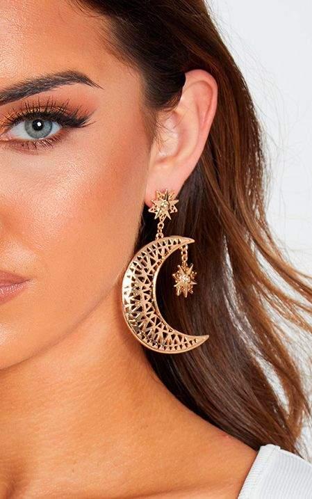 Gold Moon Star Drop Earrings