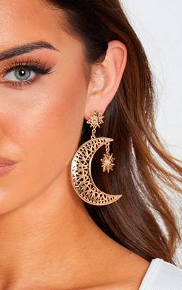 PrettyLittleThing Gold Moon Star Drop Earrings