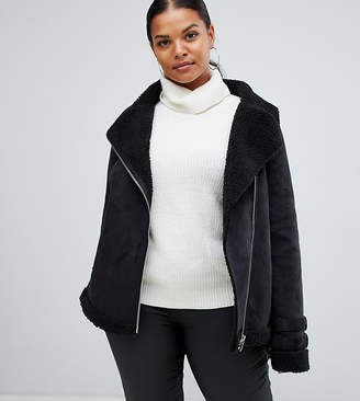 Missguided Plus fleece lined faux suede aviator jacket in black