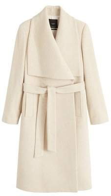 MANGO Wide lapel wool-blend coat