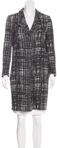 prada Prada Knee-Length Tweed Coat