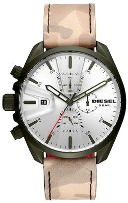 Diesel Men's Camo Leather Strap Watch, 47mm