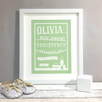 Bird & Key Papercut Style Personalised Christening Gift Print