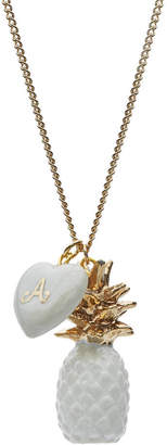 And Mary Handpainted Porcelain Pineapple With Letter Charm