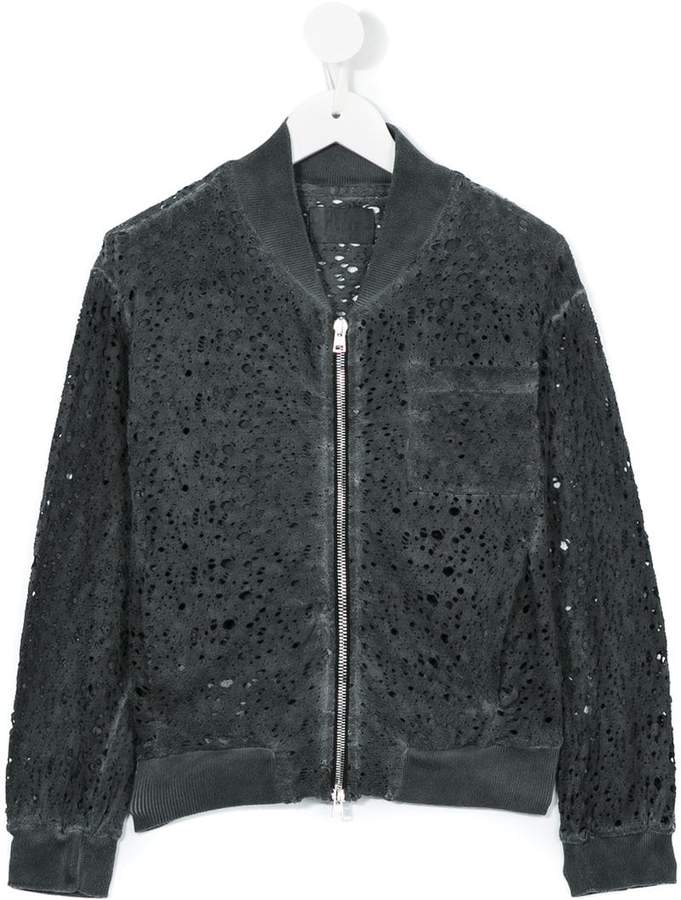 Lost And Found Kids holey bomber jacket