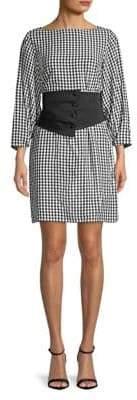 Tibi Gingham Corset Mini Dress
