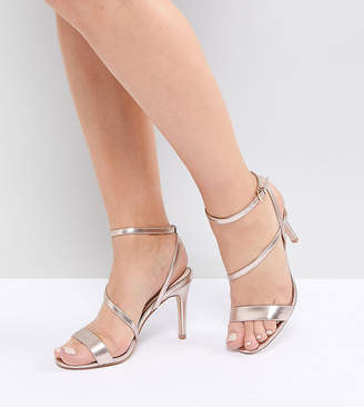 Faith Wide Fit Delly Rose Gold Heeled Sandals