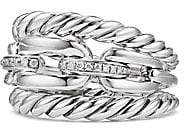 David Yurman Women's Wellesley Link Pavé Diamonds & Sterling Silver Three-Row Ring