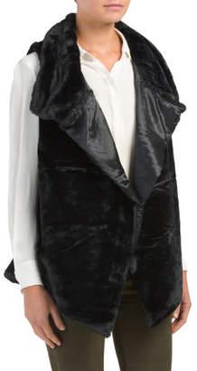 Sleeveless Open Front Faux Fur Vest